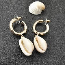 2019 <b>Hot</b> Fashion <b>Sea Shell Earrings</b> For Women Gold Color Metal ...