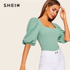 SHEIN Puff Sleeve Solid Fitted Tee <b>Elegant Square Neck</b> 3/4 Sleeve ...