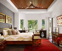 asian bedroom interior design ideas featuring marvelous gray accent wall and red turkish rug plus simple solid wood bed bedroom decor ceiling fan