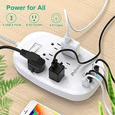 Power Strip, Surge Protector with 6 Outlets 4 <b>USB</b> Ports (5V/4.5A ...