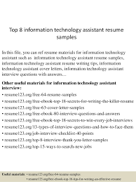 top  information technology assistant resume samplestop  information technology assistant resume samples in this file  you can ref resume materials