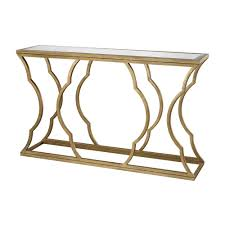 metal cloud antique gold leaf mirrored top console tabletn