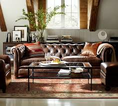 chesterfield leather sofa pottery barn chesterfield sofa leather 3