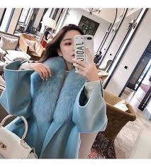 winter coat women long <b>style</b> pink <b>real fox fur</b> collar wool coat ...