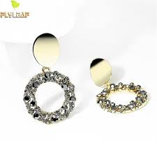 2019 <b>Flyleaf 925 Sterling Silver</b> Simple Round Crystal Earrings For ...