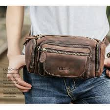 Luxury <b>Cow</b> Leather <b>Waist Pack</b> Bag Mens Vintage Pillow Fanny ...