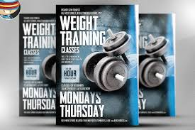 fitness centre flyer flyer templates on creative market weight training flyer template