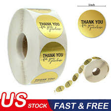 <b>500pcs</b>/Roll Gold Label Stickers Round <b>1inch THANK</b> YOU for your ...