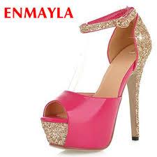 <b>ENMAYLA New</b> 5 Colors Size 34 39 Sexy High Heels Platform ...