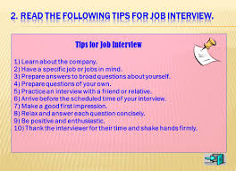 learning objectives preparing for a job interview talking list as many jobs as you can and then tell what is your favorite