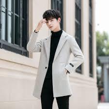 Men's trench coat 2020 new woolen coat men's <b>mid length Korean</b> ...