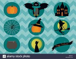 <b>Halloween elements</b>- <b>bat</b>, <b>pumpkin</b>, witch and spider on blue Stock ...