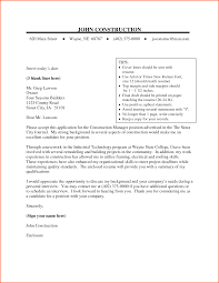 construction manager cover letter resume