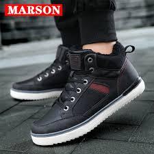 <b>MARSON Men's Winter</b> Snow Boots Short Plush Ankle Leather Boot ...