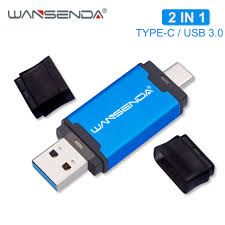 WANSENDA Metal <b>USB</b> Flash Drive 2 in 1 USB3.0 & <b>Type C</b> Pen ...