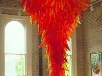 bright orange chandelier