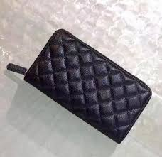 Excellent Quality Black Caviar <b>Leather</b> Zipper Wallet Classic Quilted ...