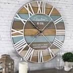 FirsTime & Co. 24 in. Maritime Distressed Teal <b>Planks Wall Clock</b> ...