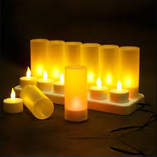 Christmas <b>Led Candles Rechargeable</b> Tealight Yellow Light Candle ...