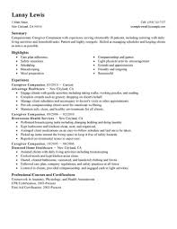 resume of caregiver in resume template home examples child samples gallery of caregiver resume