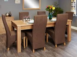 baumhaus mobel extending oak dining set with 6 full back upholstered chairs baumhaus mobel solid oak reversible