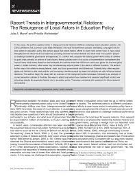 recent trends in intergovernmental relations the resurgence of in this essay the authors explore trends in intergovernmental relations igr by analyzing recent education policies no child left behind act