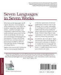 seven languages in seven weeks a pragmatic guide to learning seven languages in seven weeks a pragmatic guide to learning programming languages pragmatic programmers amazon co uk bruce a tate 8601404417818