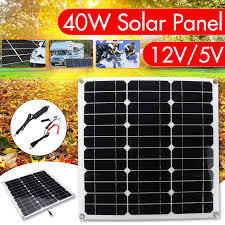 Home & Garden <b>20W Solar Panel</b> Dual USB <b>12V</b> 5V Battery ...