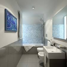 cool blue wall color with fish decoration combine with black wooden cabinet and white marble awesome bathroom design nice pendant