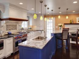 painted blue kitchen cabinets house:  white kitchen cabinets contemporary design with diy kitchen table painting blue colors inovative pendant