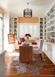 cheetah rug home office contemporary with area rug built in shelves built in storage built ins animal hide rugs home office