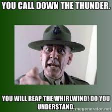 YOU CALL DOWN THE THUNDER. YOU WILL REAP THE WHIRLWIND! DO YOU ... via Relatably.com