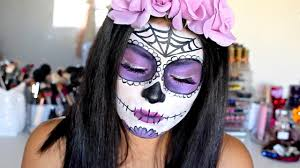dia de los muertos makeup tutorial purple sugar skull