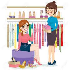 beautiful young w trying and shopping different shoes beautiful young w trying and shopping different shoes help from shoe store assistant stock vector