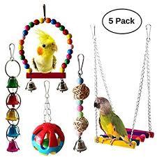 UMIWE <b>5 Pcs Pet Bird</b> Parrot Cage Toy, Parakeet Bird Toys Perches ...