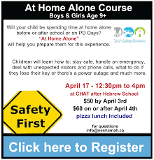 welcome to congregation of york region again the home alone course for those aged 9 as well as the babysitting course for those aged 10 click on any of the ads below to register today