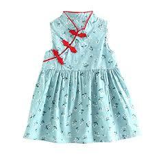 Little <b>Girl Sleeveless Dress</b> Floral Vintage <b>Cheongsam Dress</b> ...