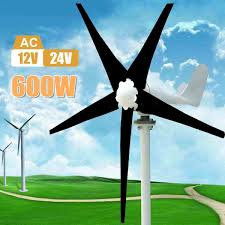<b>Max 600W Wind Turbine</b> Generator DC 12V/24V 5 Blade Power ...