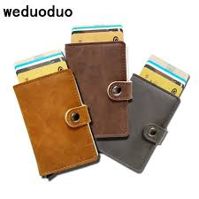 <b>weduoduo</b> Men Credit Card Holder Fashion PU <b>Leather</b> Metal Card