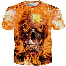 <b>YFFUSHI 2018 Male 3d</b> T Shirts Own Design Fire Skull Print ...