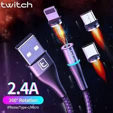 <b>Twitch</b> USB <b>Magnetic</b> cable <b>2m 1m</b> micro usb type c Quick charge ...