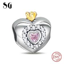 <b>SG</b> pandora Charm <b>silver 925</b> diy beads love heart shape collection ...