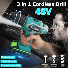 <b>Cordless</b> Electric <b>Impact</b> Drill <b>48V</b> LI-ON Dual Speed Brushless ...