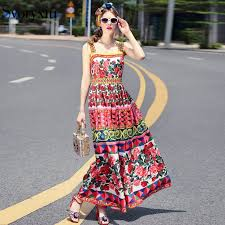 Summer Runway Designer Bohemian Long Dress Women's High ...