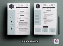 modern resume template resume templates on creative market 2 page resume template