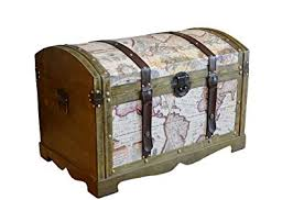 Styled Shopping Victorian Ancient World Map <b>Wooden Trunk Wood</b> ...