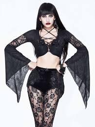 Devil <b>Fashion Black Sexy</b> Gothic Flower Beading Short Top for ...