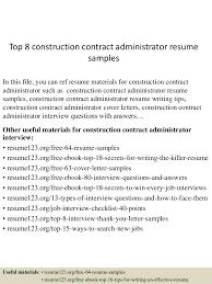 top8constructioncontractadministratorresumesamples 150525022406 lva1 app6891 thumbnail 4 jpg cb 1432520721