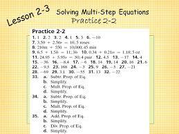 Chapter     Solving Equations Algebra I Lesson     Solving One     Solving Multi Step Equations Notes Lesson     Steps for Solving Multi Step