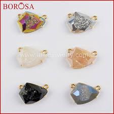 <b>BOROSA 5 10PCS</b> Gold Color Bezel Claw Shield Shape Rainbow ...